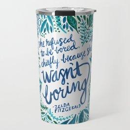 Zelda Fitzgerald – Blue on White Travel Mug