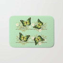 Four green butterflies Bath Mat