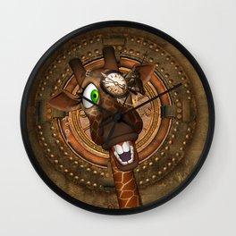 Steampunk, Funny giraffe Wall Clock