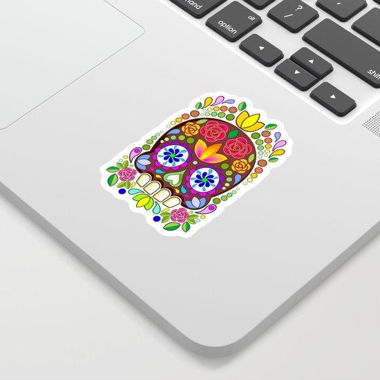 Sugar Skull Floral Naif Art Mexican Calaveras by bluedarkatlem