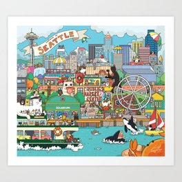 Seattle cats Art Print