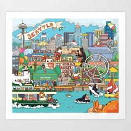 Seattle cats Art Print