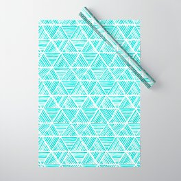 Aquamarine Watercolor Triangular Pattern Wrapping Paper