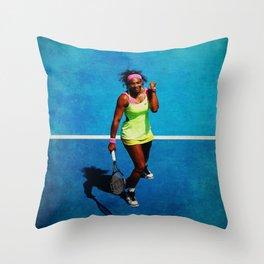 Serena Williams Tennis Celebrating Throw Pillow