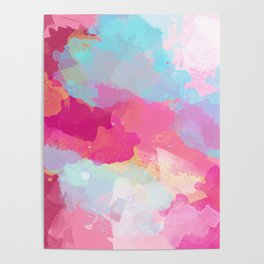 Colorful Abstract - pink and blue pattern Poster