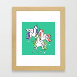 Three beautiful unicorns Framed Art Print