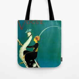 Vintage 1920's Jazz Age Flapper with White Peacock Fashion Poster Tote Bag