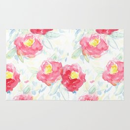 Abstract Watercolour Painted Pink Peonies Rug