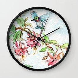 Honeysuckle Hummingbird Wall Clock