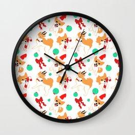 Festive Shibas Wall Clock