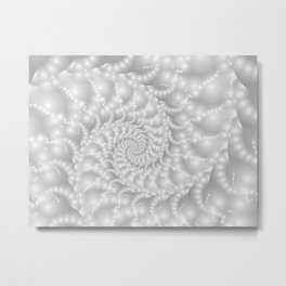 Mother of Pearl Beaded Spiral Fractal Metal Print