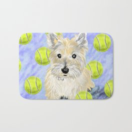 Miss Caroline the Cairn Terrier is Obsessed About Fetching Tennis Balls Bath Mat