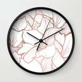 Modern handdrawn abstract faux rose gold flowers pattern Wall Clock