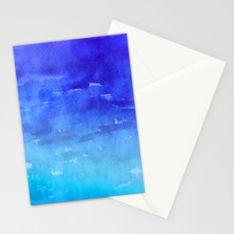 Blue Violet Sky Over Aqua Ocean Abstract Painting Stationery Cards