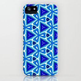 Bright blue Geometric Pattern Design iPhone Case
