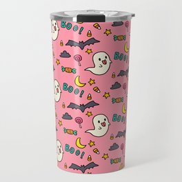 Happy Halloween ghosts, bats, boo and sweets pattern Travel Mug