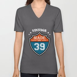 Vintage Made In 39 1939 Birthday Gift Unisex V-Neck