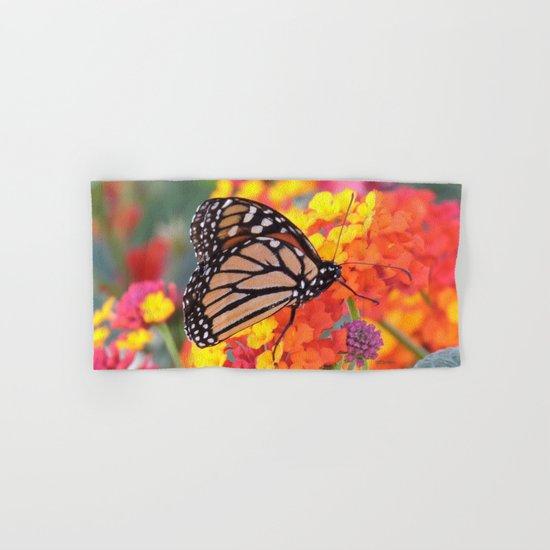 Monarch Feeding on Lantana Hand & Bath Towel