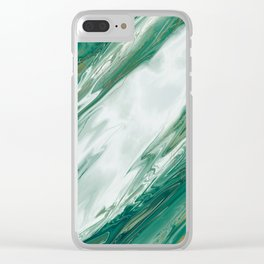 Emerald Jade Green Gold Accented Painted Marble Clear iPhone Case