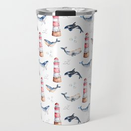 Sea Voyage Whales and Lighthouses Pattern Travel Mug
