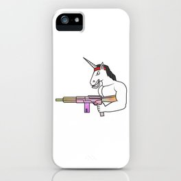Unicorn muscles weapon fighter soldier shooting rainbow rambo gift iPhone Case
