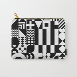 Geometric Shapes   Retro Bauhaus Pattern   Black & White Edition Carry-All Pouch