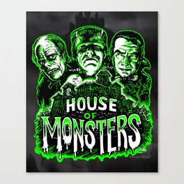 House of Monsters Phantom Frankenstein Dracula classic horror Canvas Print