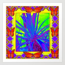 TROPICAL ORANGE BUTTERFLIES PURPLE AGAVE CACTUS Art Print