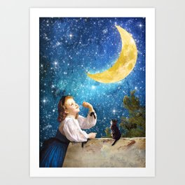 One Wish Upon the Moon Art Print