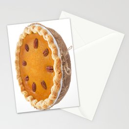 Homemade pumpkin pie isolated on white Stationery Cards