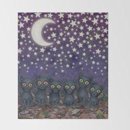 black cats, stars, & moon Throw Blanket
