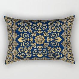 Oriental Damask Ornament - Gold on dark blue #1 Rectangular Pillow