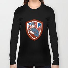 British Bobby Policeman Truncheon Flag Shield Retro Long Sleeve T-shirt