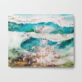 Abstract Waves Splatter Metal Print