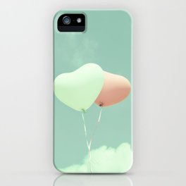 Innocent Love, Pink heart balloons on soft blue sky iPhone Case