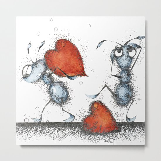 Two ants with hearts Metal Print