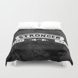 Stronger Every Day (dumbbell, black & white) Duvet Cover