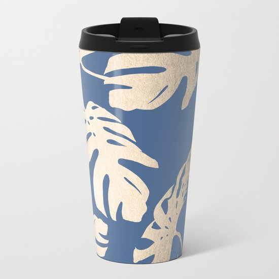 Simply Tropical Palm Leaves White Gold Sands on Aegean Blue Metal Travel Mug