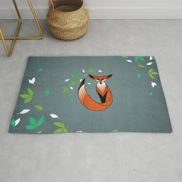 Dame Renard - Grey background with leaves Rug