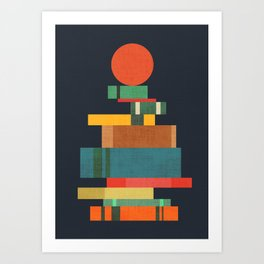 Book stack with a ball Kunstdrucke