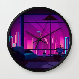 Synthwave Neon City #17 Wall Clock
