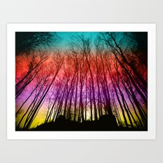 Colorful forest silhoutte Art Print