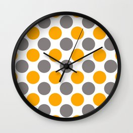 Gray and yellow polka dots Wall Clock