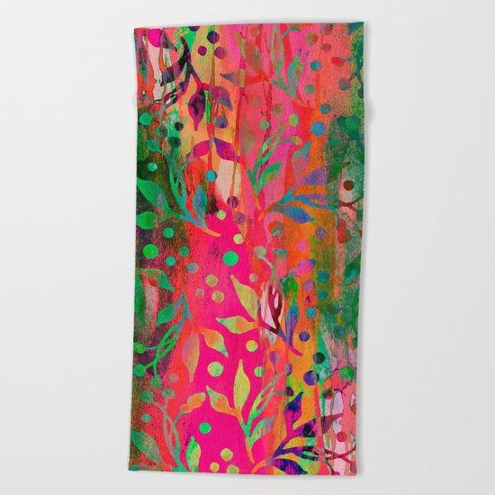 Tropical Summer colorful botanical pattern Beach Towel