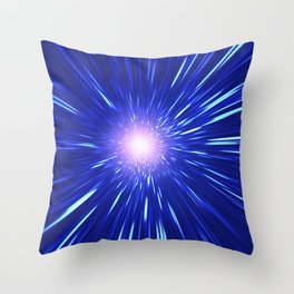 Glowing purple shpere with rays of light Throw Pillow