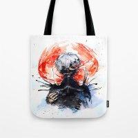 tokyo ghoul Tote Bags featuring Tokyo Ghoul - Kaneki Ken by Kayla Phan