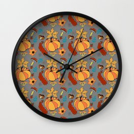 Autumn pattern with pumpkin and vegetal life Wall Clock