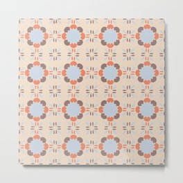 Blue Retro Tile Metal Print