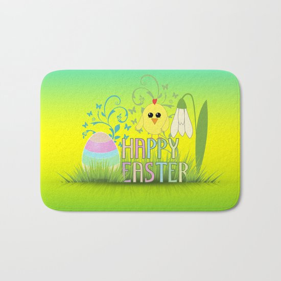 Happy Easter Egg, Chick and Snowdrop Bath Mat