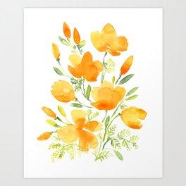 Watercolor california poppies bouquet Art Print